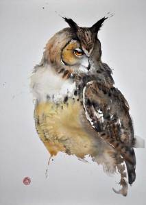 Painting of an owl in watercolours by painter Karl Martens
