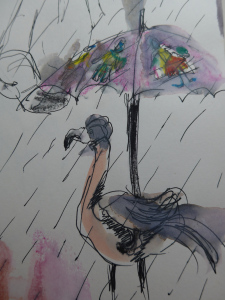 Sketch of a flamboyant flamingo by artist Diane Young