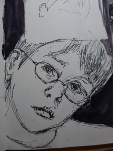 Sketch from life by artist Diane Young of a young boy