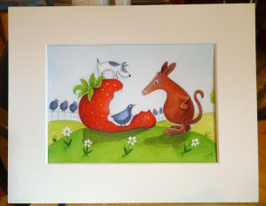 Humour in acrylic painting Harvey the Aardvark finds a giant strawberry with digger the dog by artist Diane Young