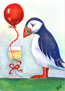 Painting of a puffin and glass of champagne and balloon by artist Diane Young