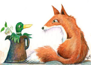 New ACE design painting of a duck and a fox by Diane Young