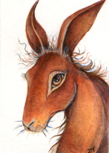 Painting of a hare with wiry hair by Artist Diane Young
